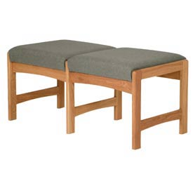 Two Person Bench - Medium Oak/Gray Fabric