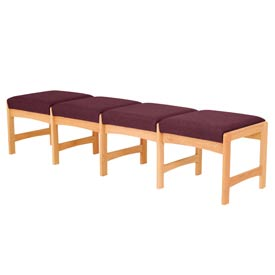 Four Person Bench - Light Oak/Burgundy Fabric