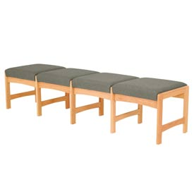 Four Person Bench - Light Oak/Gray Fabric