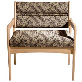 Bariatric Standard Leg Chair - Light Oak/Taupe Leaf Pattern Fabric