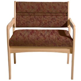 Bariatric Standard Leg Chair - Light Oak/Rose Water Pattern Fabric