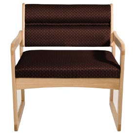Bariatric Sled Base Chair - Light Oak/Burgundy Arch Pattern Fabric