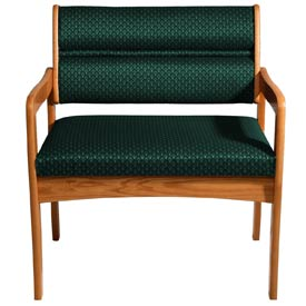 Bariatric Standard Leg Chair - Medium Oak/Green Arch Pattern Fabric