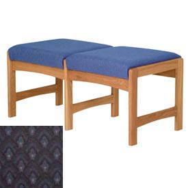 Two Person Bench - Medium Oak/Blue Arch Pattern Fabric