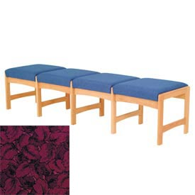 Four Person Bench - Light Oak/Burgundy Leaf Pattern Fabric