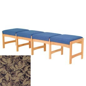Four Person Bench - Light Oak/Taupe Leaf Pattern Fabric