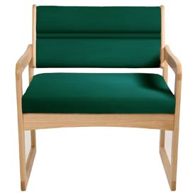 Bariatric Sled Base Chair - Light Oak/Green Vinyl