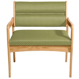 Bariatric Standard Leg Chair - Light Oak/Olive Arch Pattern Fabric