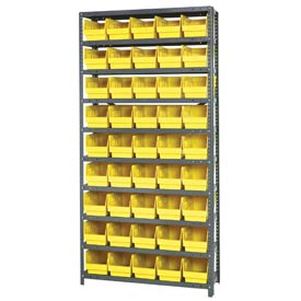 "Quantum 1875-204 Steel Shelving With 45 6""H Shelf Bins Yellow, 36x18x75-10 Shelves"