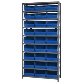 "Quantum 1875-210 Steel Shelving With 27 6""H Shelf Bins Blue, 36x18x75-10 Shelves"
