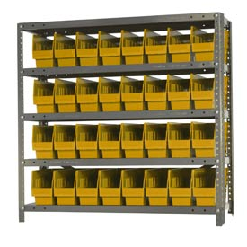 "Quantum 1839-203 Steel Shelving With 32 6""H Shelf Bins Yellow, 36x18x39-5 Shelves"