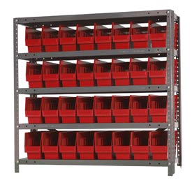 "Quantum 1839-203 Steel Shelving With 32 6""H Shelf Bins Red, 36x18x39-5 Shelves"