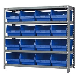"Quantum 1839-208 Steel Shelving With 16 6""H Shelf Bins Blue, 36x18x39-5 Shelves"