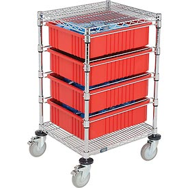 "21X24X45 Chrome Wire Cart With 4 6""H Grid Containers Red"