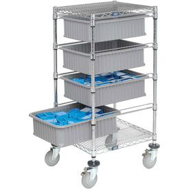 "Chrome Wire Cart With (4) 6""H Gray Grid Containers 21"" x 24"" x 45"""