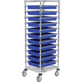 "21X24X69 Chrome Wire Cart With 11 3""H Grid Containers Blue"