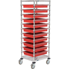 "21X24X69 Chrome Wire Cart With 11 3""H Grid Containers Red"