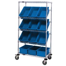 "Quantum MWRS-5-92060 Chrome Wire Truck With 12 6""H Grid Containers Blue, 36""L x 18""W x 63""H"