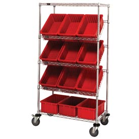 "Quantum MWRS-5-92080 Chrome Wire Truck With 12 8""H Grid Containers Red, 36""L x 18""W x 63""H"