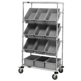 "Quantum MWRS-5-92080 Chrome Wire Truck With 12 8""H Grid Containers Gray, 36""L x 18""W x 63""H"