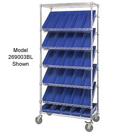 "Quantum MWRS-7-103 Chrome Wire Truck With 48 4""H Shelf Bins Blue, 36""L x 18""W x 74""H"