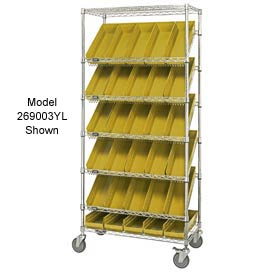 "Quantum MWRS-7-103 Chrome Wire Truck With 48 4""H Shelf Bins Yellow, 36""L x 18""W x 74""H"
