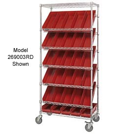 "Quantum MWRS-7-103 Chrome Wire Truck With 48 4""H Shelf Bins Red, 36""L x 18""W x 74""H"