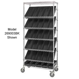 "Quantum MWRS-7-103 Chrome Wire Truck With 48 4""H Shelf Bins Black, 36""L x 18""W x 74""H"