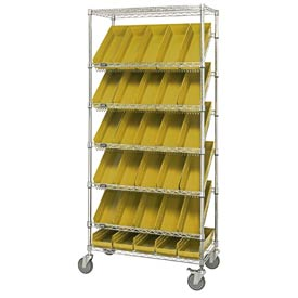 "Quantum MWRS-7-104 Chrome Wire Truck With 30 4""H Shelf Bins Yellow, 36""L x 18""W x 74""H"
