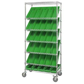 "Quantum MWRS-7-104 Chrome Wire Truck With 30 4""H Shelf Bins Green, 36""L x 18""W x 74""H"