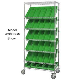 "Quantum MWRS-7-108 Chrome Wire Truck With 24 4""H Shelf Bins Green, 36""L x 18""W x 74""H"