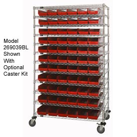 "Chrome Wire Shelving with 91 4""H Plastic Shelf Bins Red, 48x18x74"