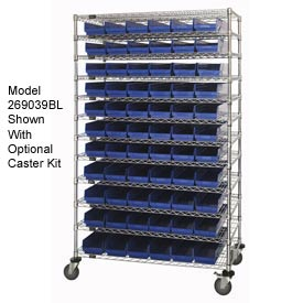 "Chrome Wire Shelving with 66 4""H Plastic Shelf Bins Blue, 48x18x74"
