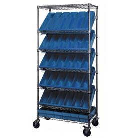 "Quantum MWRS-7-602 Chrome Wire Truck With 36 4-5/8""H Plastic Drawers Blue, 26x18x74"