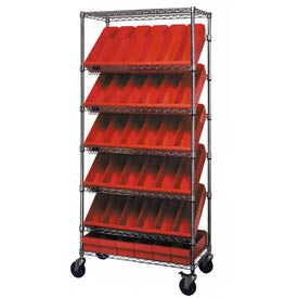 "Quantum MWRS-7-602 Chrome Wire Truck With 36 4-5/8""H Plastic Drawers Red, 36""L x 18""W x 74""H"