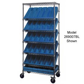 "Quantum MWRS-7-606 Chrome Wire Truck With 24 4-5/8""H Plastic Drawers Blue, 36""L x 18""W x 74""H"