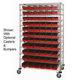 "Chrome Wire Shelving with 66 4""H Plastic Shelf Bins Red, 48x24x74"