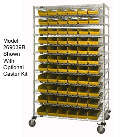 "Chrome Wire Shelving with 143 4""H Plastic Shelf Bins Yellow, 60x14x74"