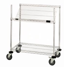 "Quantum M1848SL34C Chrome Wire Work Station Cart, 48""L x 18""W x 40""H"