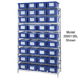 "Chrome Wire Shelving With 24 9""H Nest & Stack Shipping Totes Blue, 48x18x74"