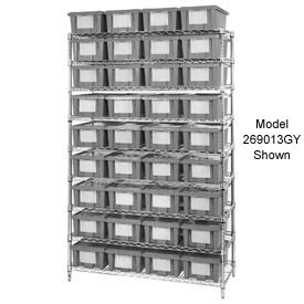 "Chrome Wire Shelving With 24 9""H Nest & Stack Shipping Totes Gray, 48x18x74"