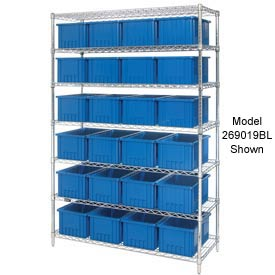 "Chrome Wire Shelving With 36 6""H Grid Container Blue, 48x18x74"