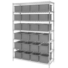 "Chrome Wire Shelving With 24 8""H Grid Container Gray, 48x18x74"