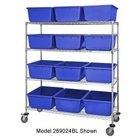 Quantum MWR5-1711-12 Mobile Chrome Wire Truck With 15 12 Cross Stack Nest Lug Totes Blue 36x18x69