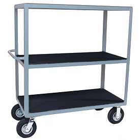 "Vinyl Matted Three Shelf Cart w/ 8"" Pneumatic Casters - 24 x 36"