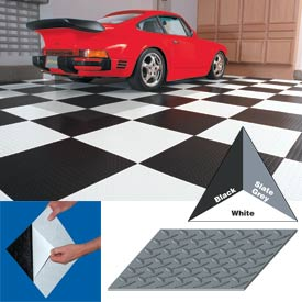 "Vinyl Tile Matting With Adhesive 12""x12"" Diamond Pattern White case of 20"