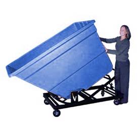 Bayhead Blue Plastic Self-Dumping Forklift Hopper 2.2 Cu Yd With Caster Base