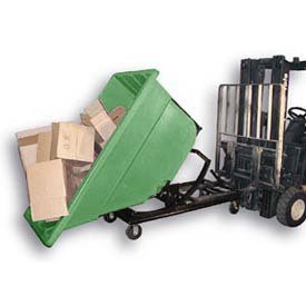 Bayhead Green Plastic Self-Dumping Forklift Hopper 1.1 Cu Yd with Caster Base