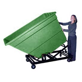 Bayhead Green Plastic Self-Dumping Forklift Hopper 1.7 Cu Yd with Caster Base