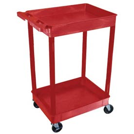 Luxor® RDSTC11RD Red 2 Shelf Tray Shelf Plastic Cart 24 x 18